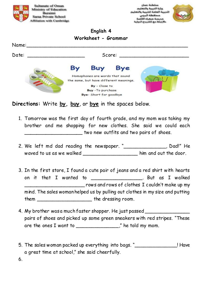Homophones Worksheets for Grade 2 Homophones 2 Worksheet
