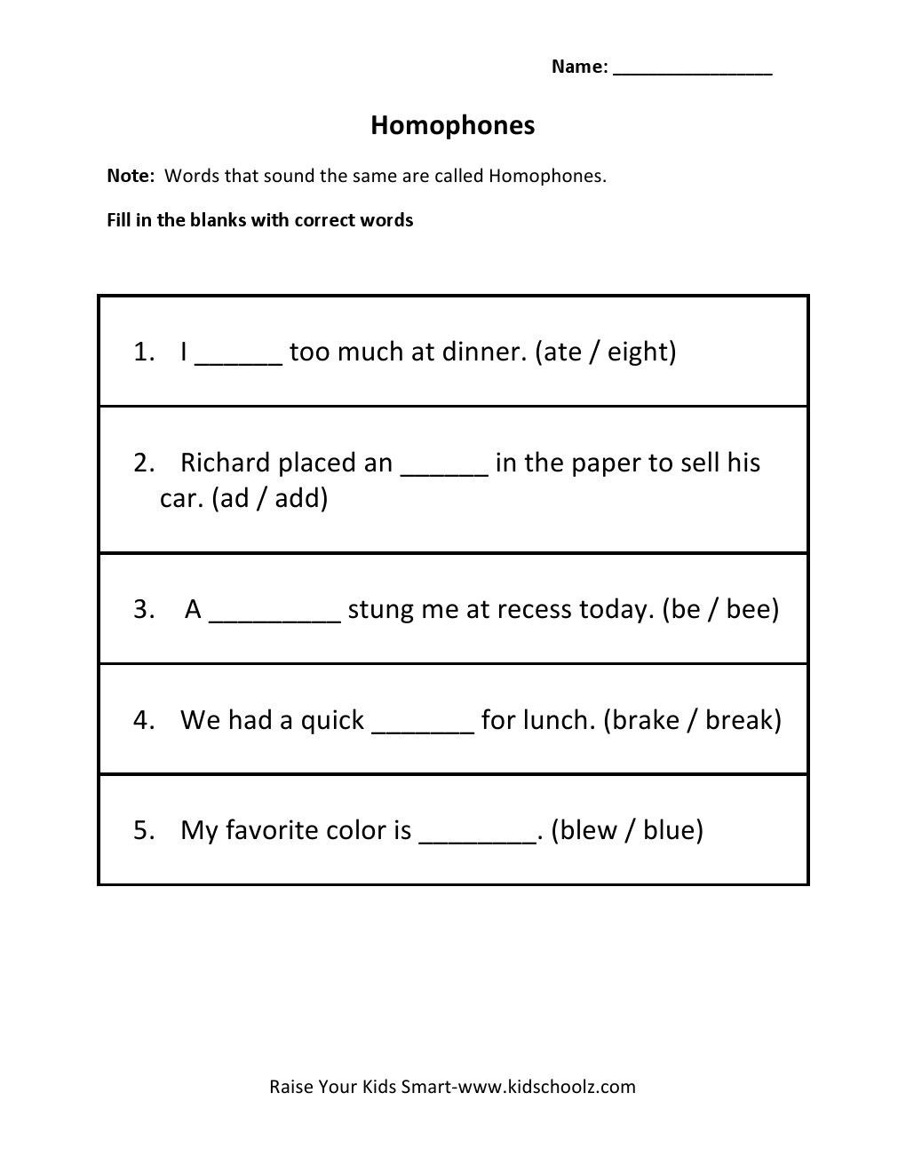 Homophones Worksheets for Grade 2 Wp Content 2014 09 Homophones 1