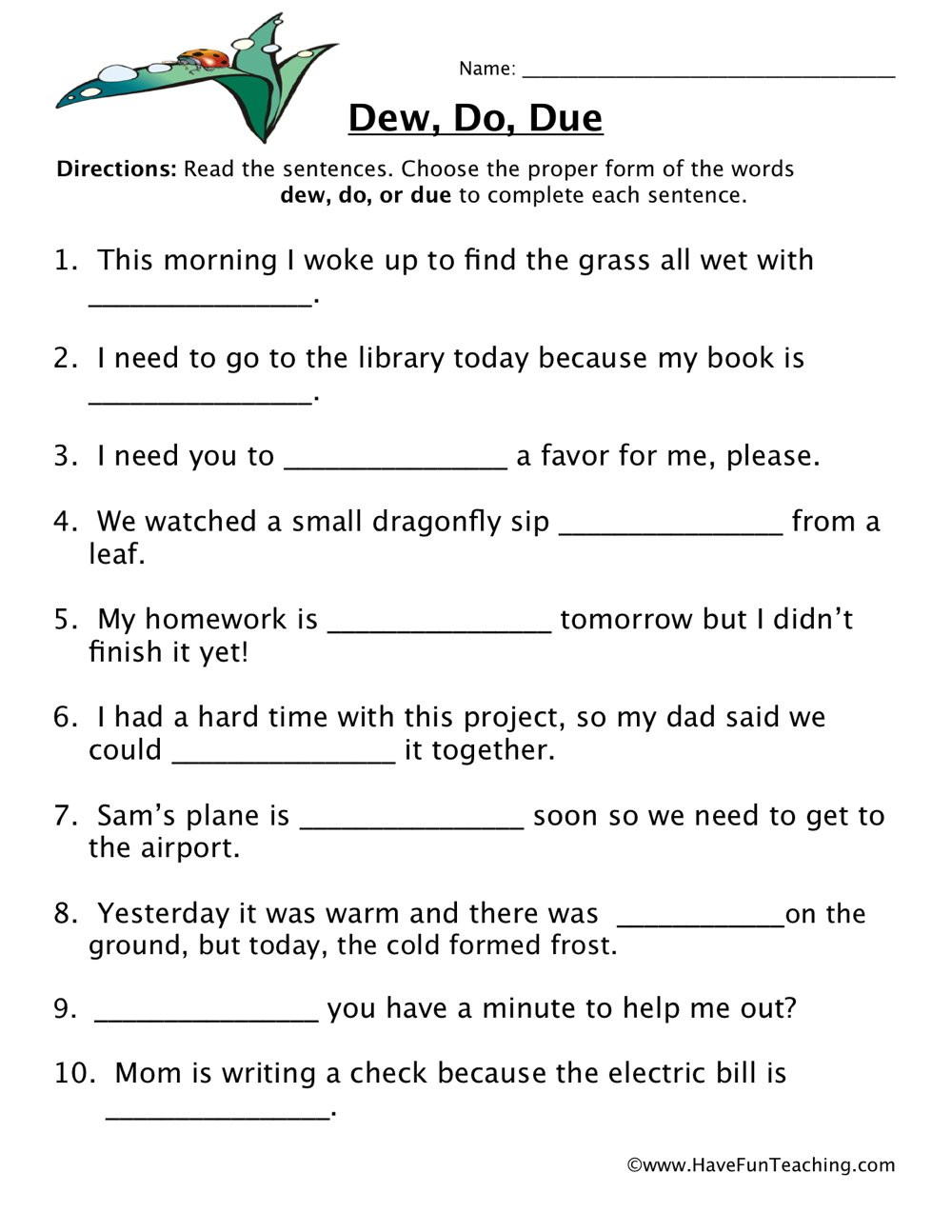 Homophones Worksheets for Grade 5 Dew Do Due Homophones Worksheet