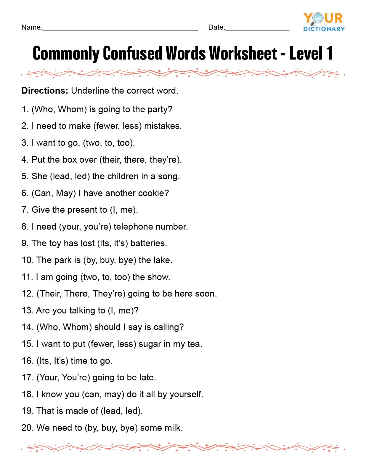 Homophones Worksheets for Grade 5 Monly Confused Words Worksheet