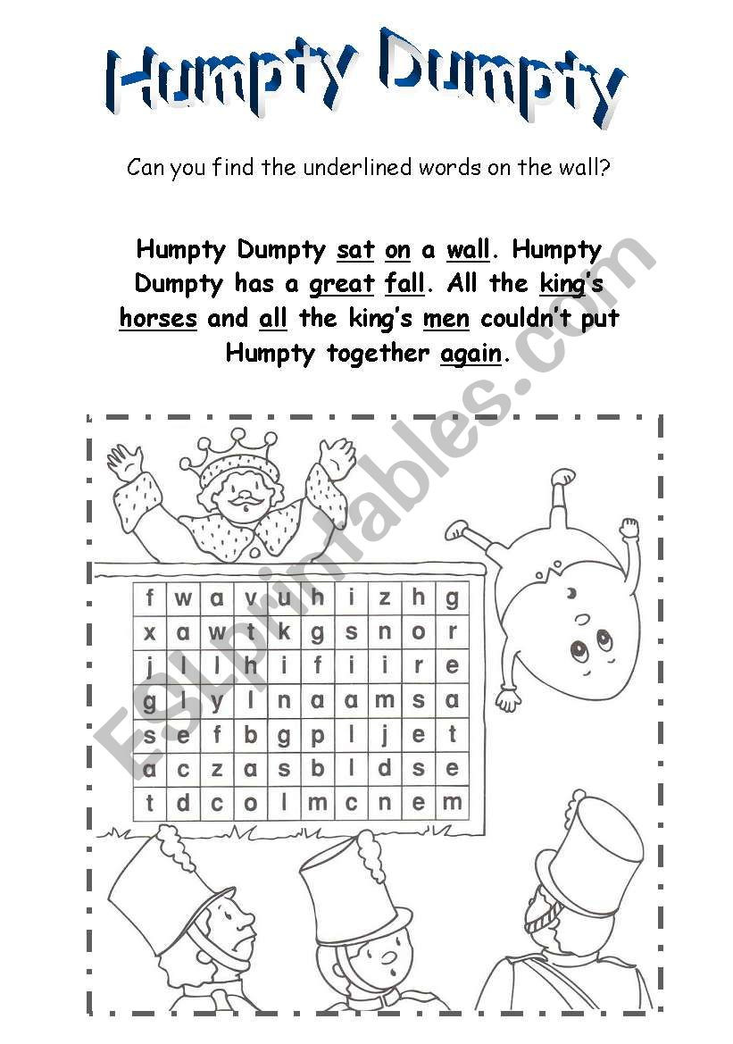 Humpty Dumpty Printable Book Humpty Dumpty Esl Worksheet by Betty23