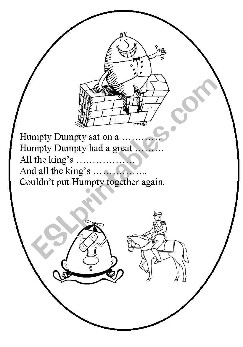 Humpty Dumpty Printable Book Humpty Dumpty Esl Worksheet by Rofer