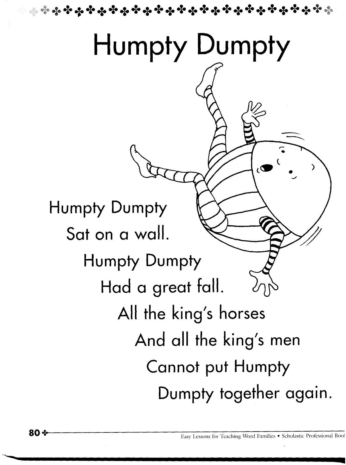 Humpty Dumpty Nursery Rhyme Printable &