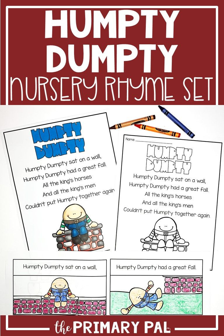Humpty Dumpty Printable Book Humpty Dumpty Nursery Rhyme Set