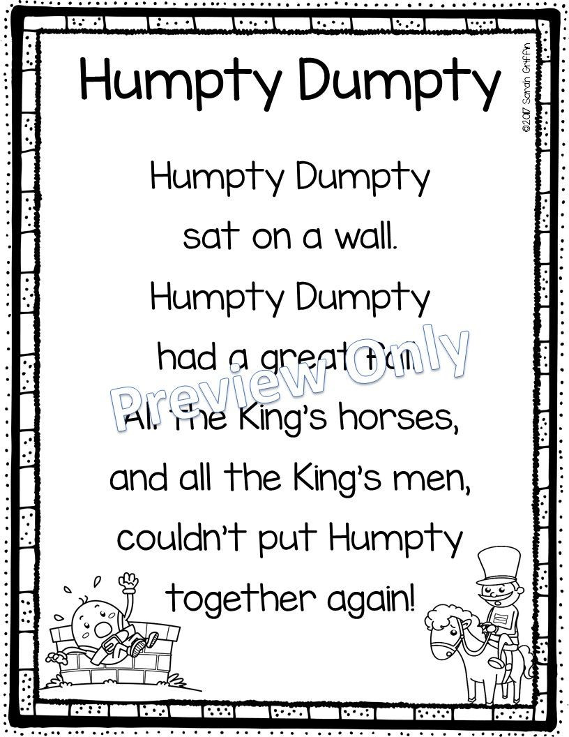 Humpty Dumpty Printable Book Humpty Dumpty Printable Nursery Rhyme Poem for Kids