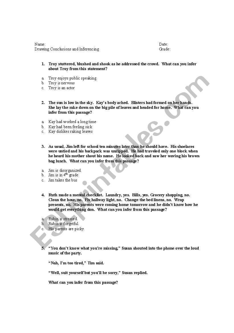 Inference Worksheets for 4th Grade Drawing Conclusions Worksheets 4th Grade Drawing Conclusions