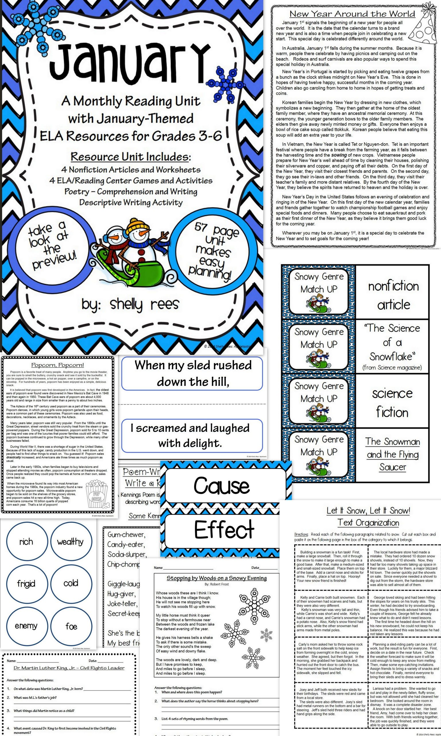 Informational Text Worksheets Middle School January Reading Ela Unit Informational Text Worksheets