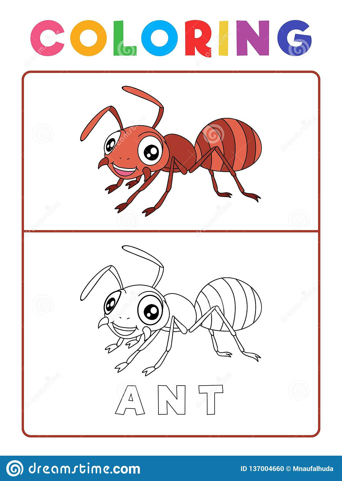 Insect Worksheets for Preschoolers Funny Ant Insect Animal Coloring Book with Example
