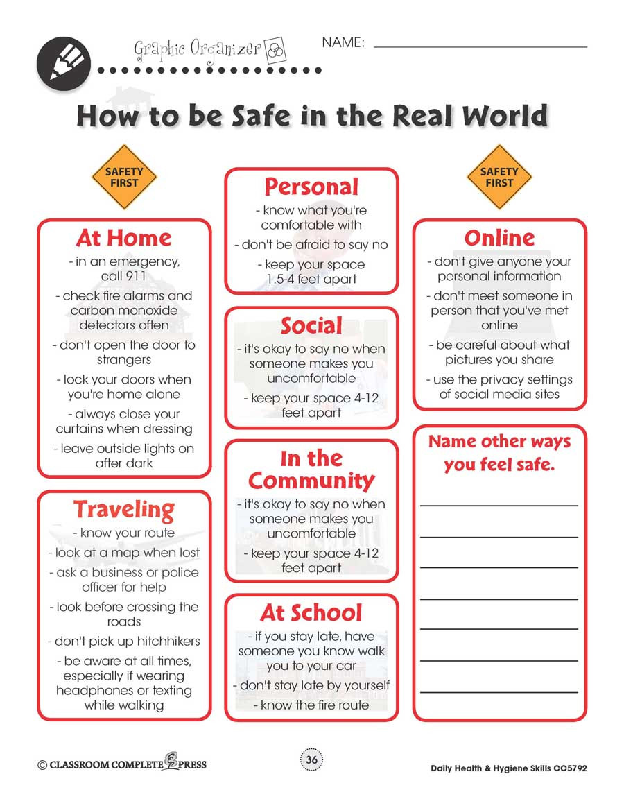 Internet Safety Worksheets Printable Daily Health Hygiene Personal Safety Worksheets Grades to
