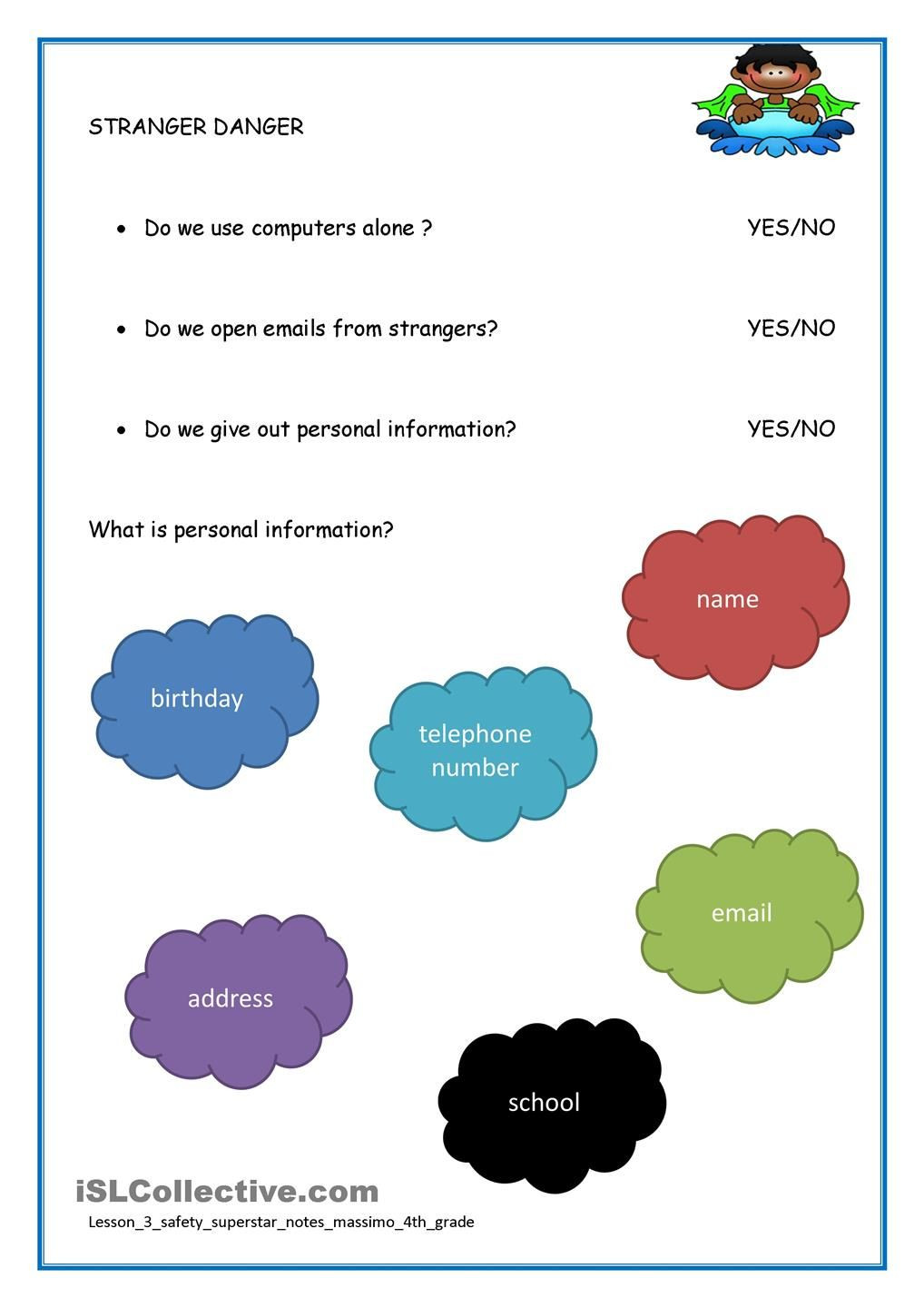 Internet Safety Worksheets Printable Internet Safety