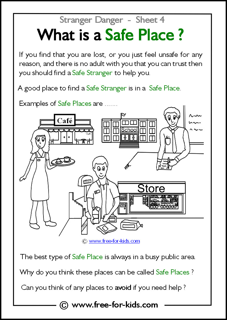 Internet Safety Worksheets Printable Stranger Danger Worksheets and Colouring Safety at Work is
