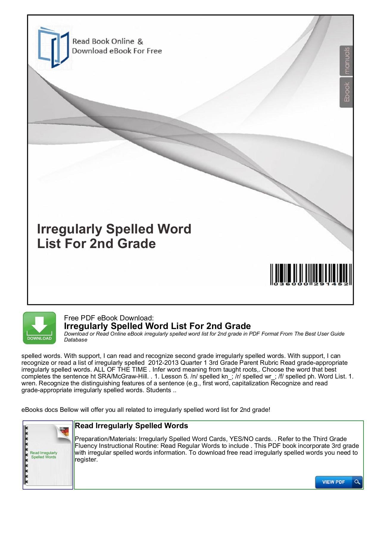 Irregularly Spelled Words 2nd Grade Irregularly Spelled Word List for 2nd Grade Pages 1 7