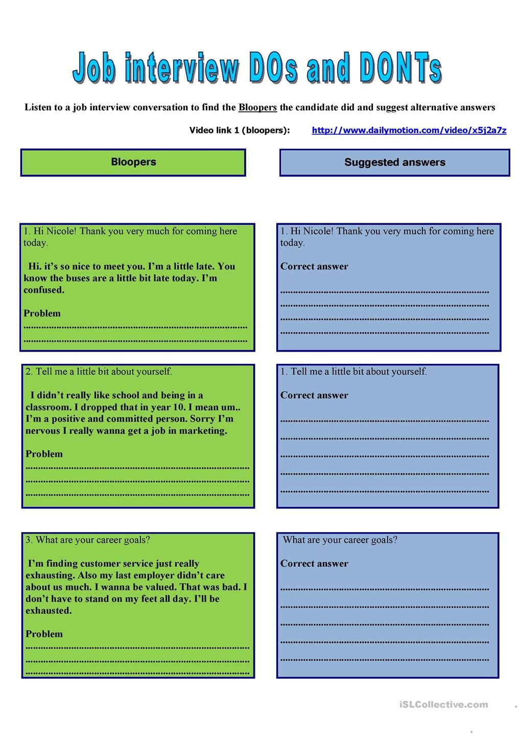 Job Readiness Printable Worksheets Job Interview Business Lesson Based On Four Skill
