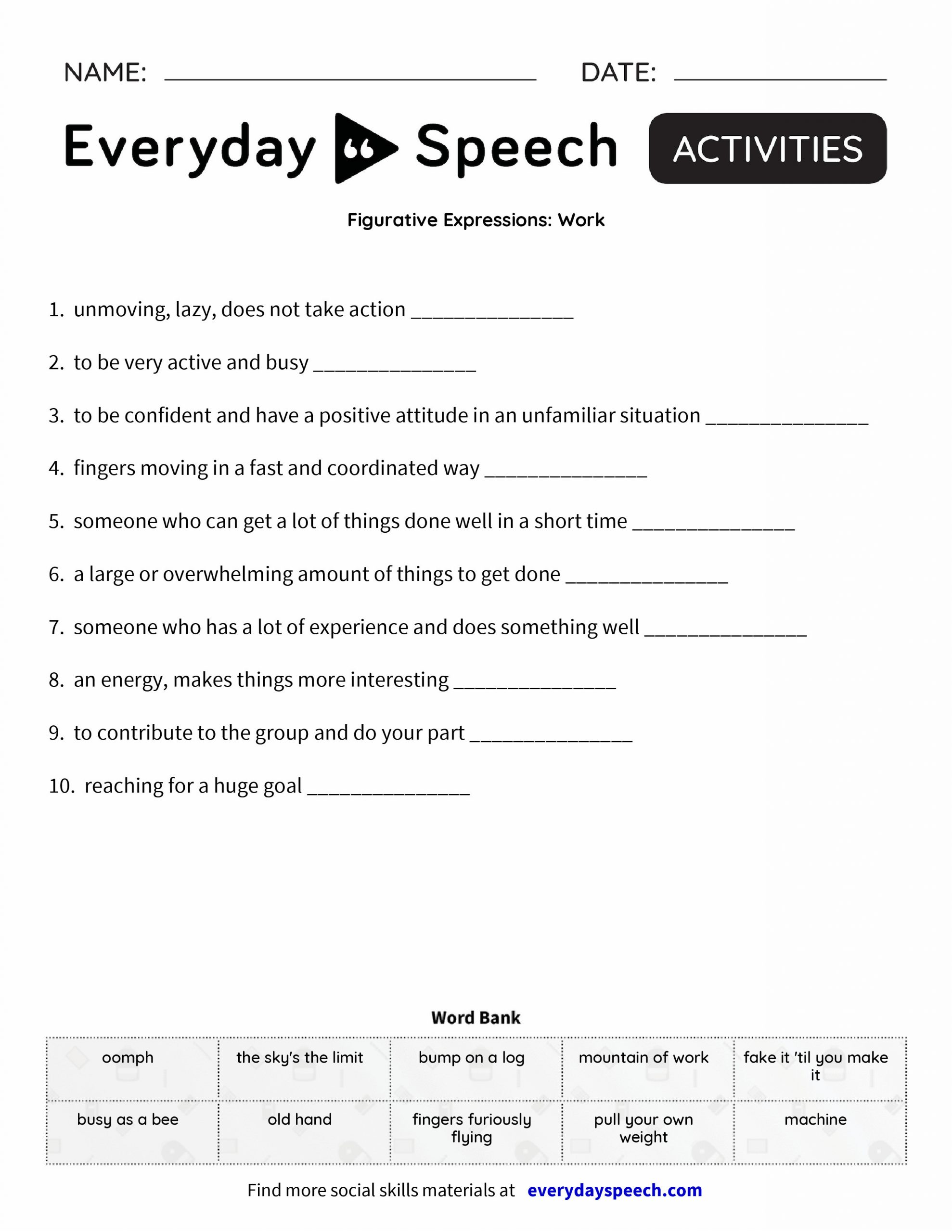 Job Readiness Printable Worksheets Job Readiness Worksheets