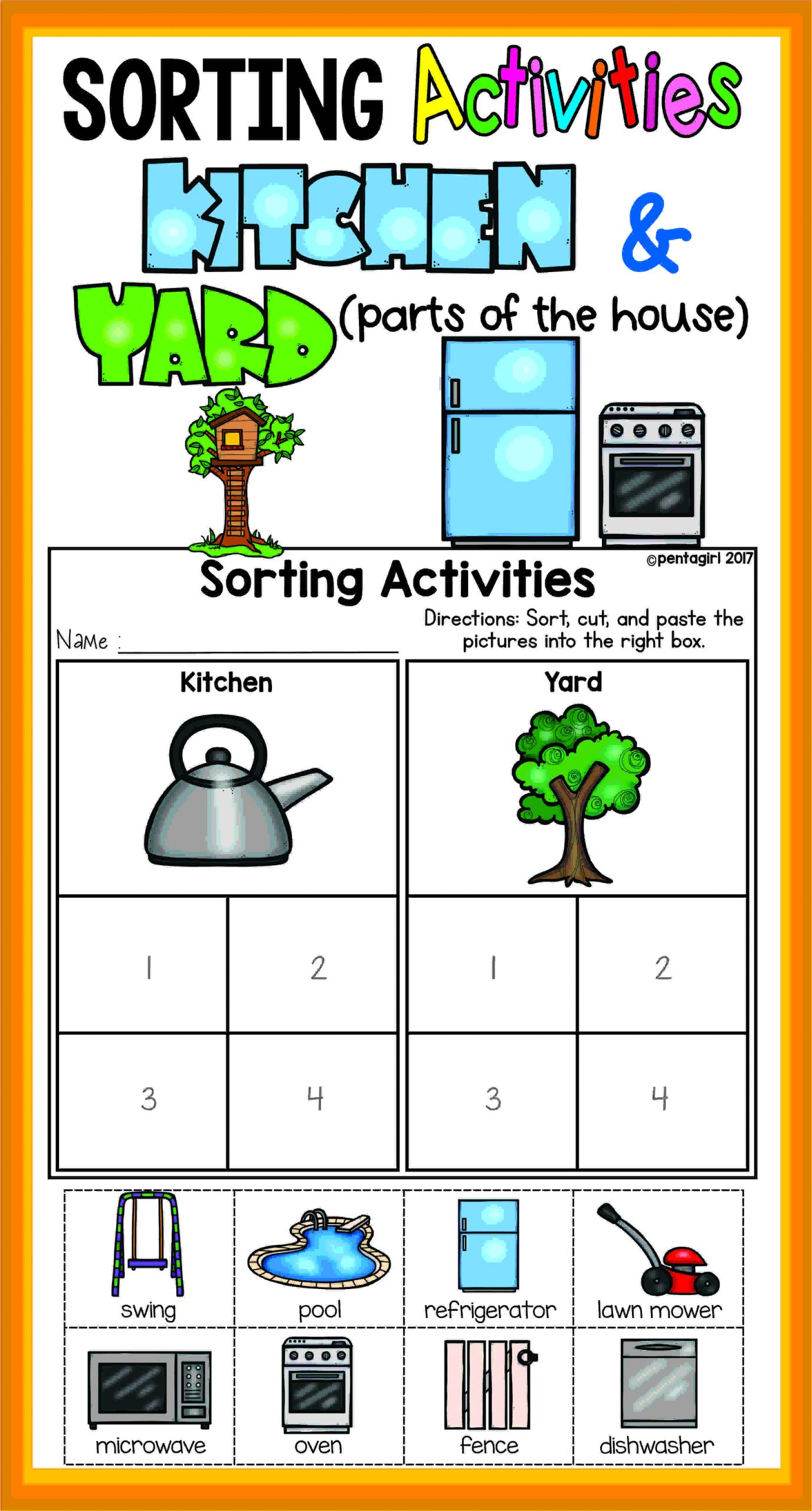 Kindergarten Math sorting Worksheets sorting Activities Posters and Worksheets Kitchen and Yard
