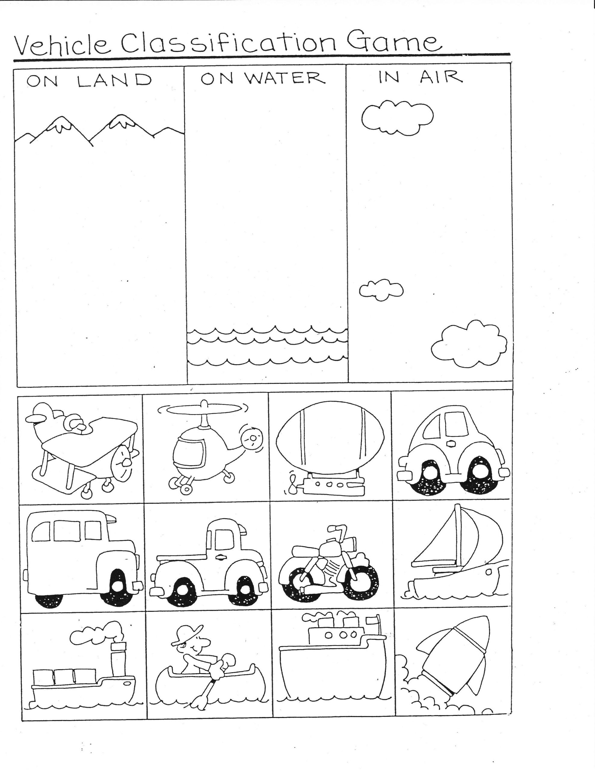 Kindergarten Math sorting Worksheets Transportation Ideas for Math