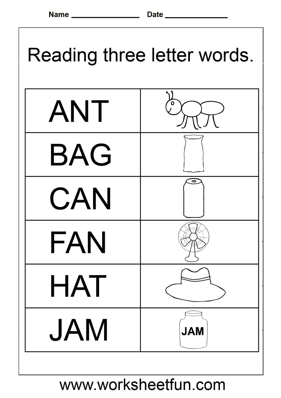 Kindergarten Spelling Words Printable 3 Letter Words Worksheets for Kindergarten