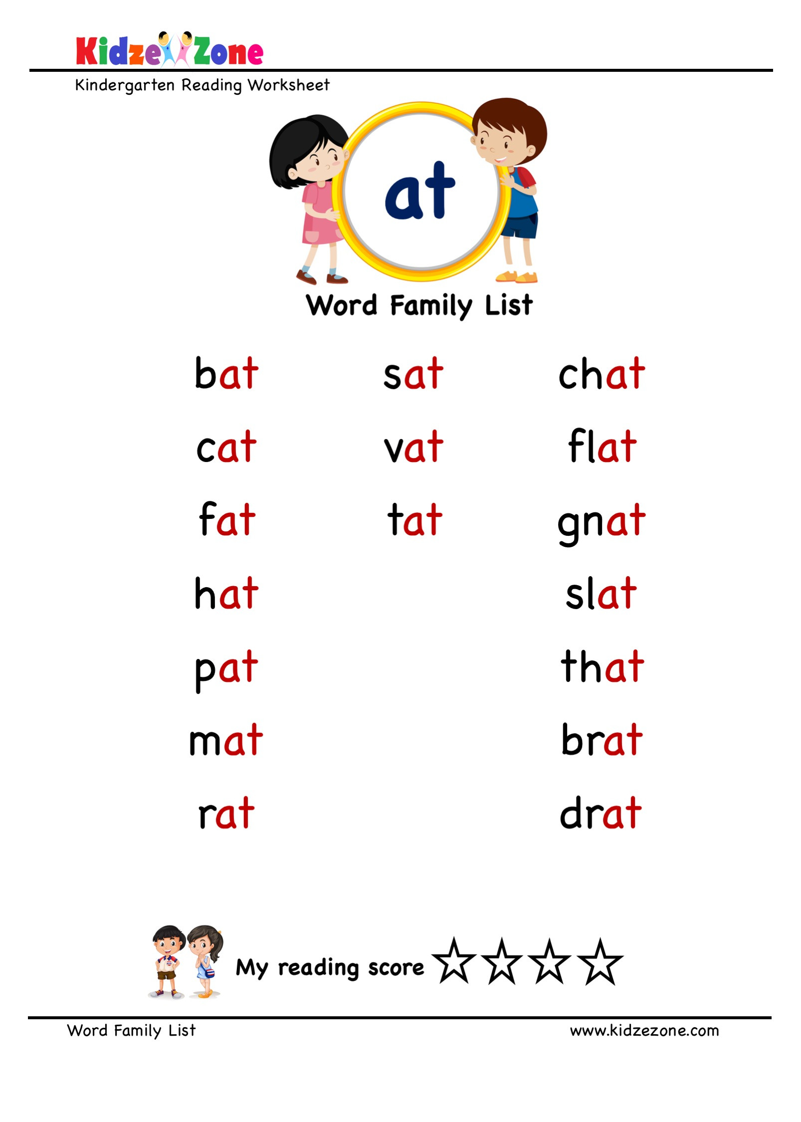 "Kindergarten Spelling Words Printable Explore and Learn Words From ""at"" Word Family with Word List"