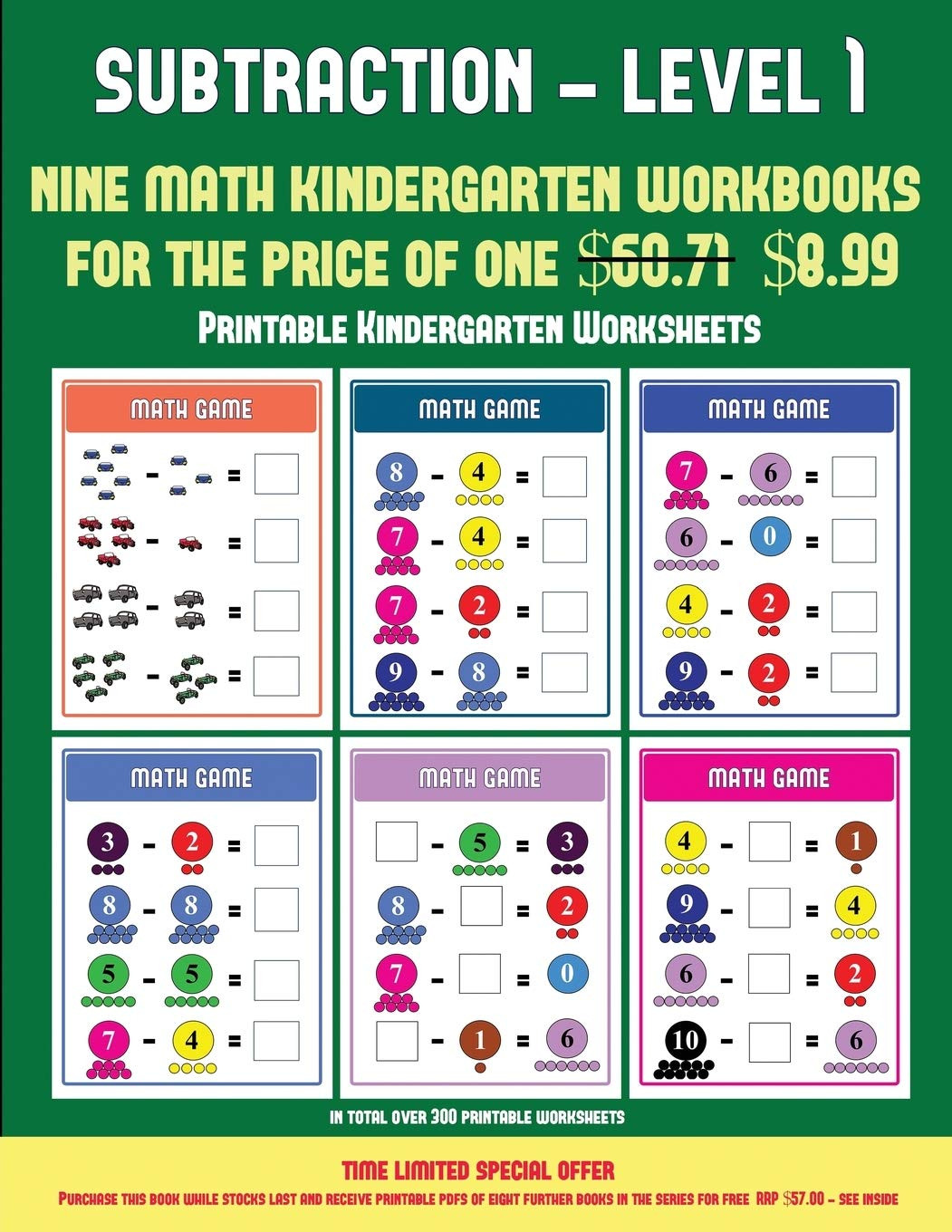 Kindergarten Subtraction Worksheets Free Printable Buy Printable Kindergarten Worksheets Kindergarten