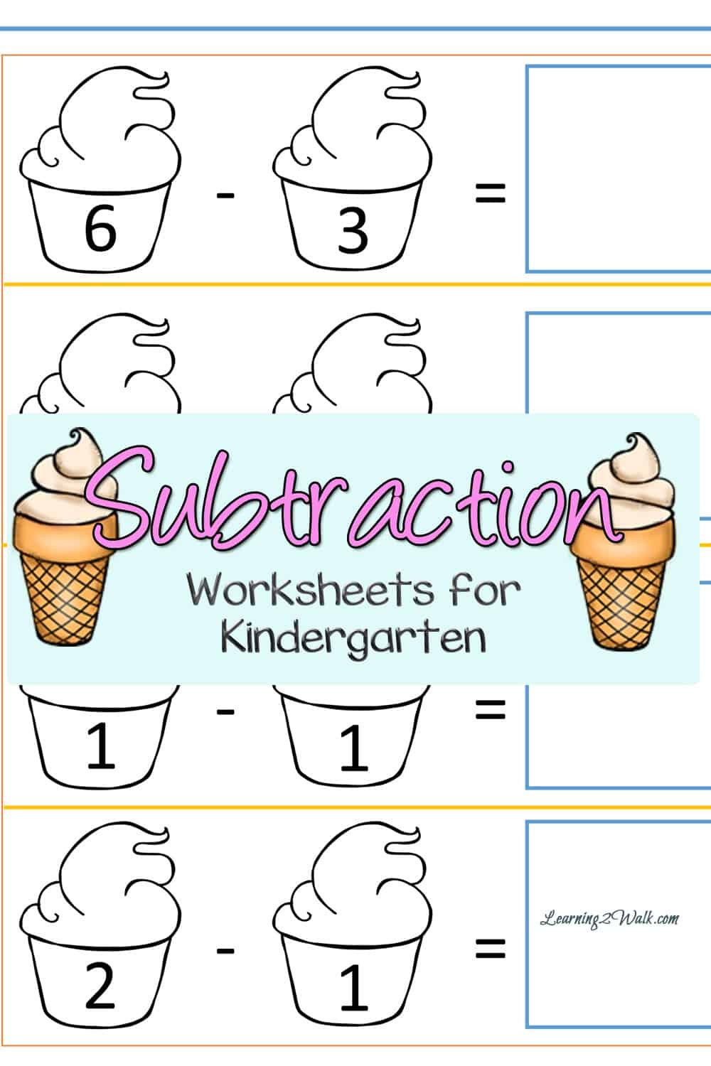 Kindergarten Subtraction Worksheets Free Printable Cut and Paste Ice Cream Kindergarten Subtraction Worksheets