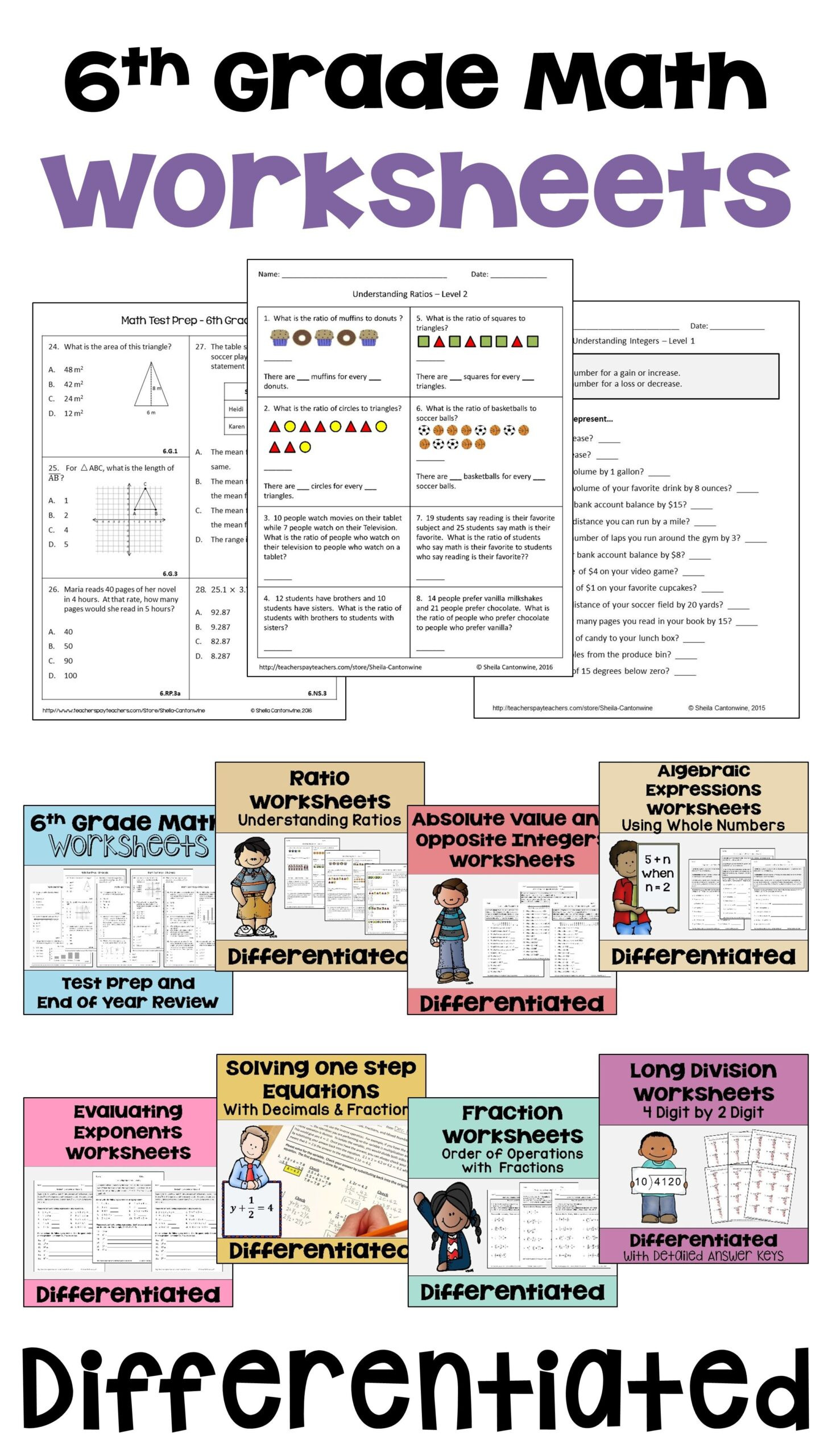 Kitchen Math Worksheets 6th Grade Math Differentiated Worksheet Bundle for Centers