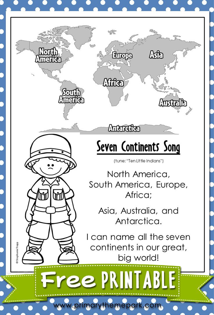 Label Continents and Oceans Printable Free Worksheets for Teachers About the Continents