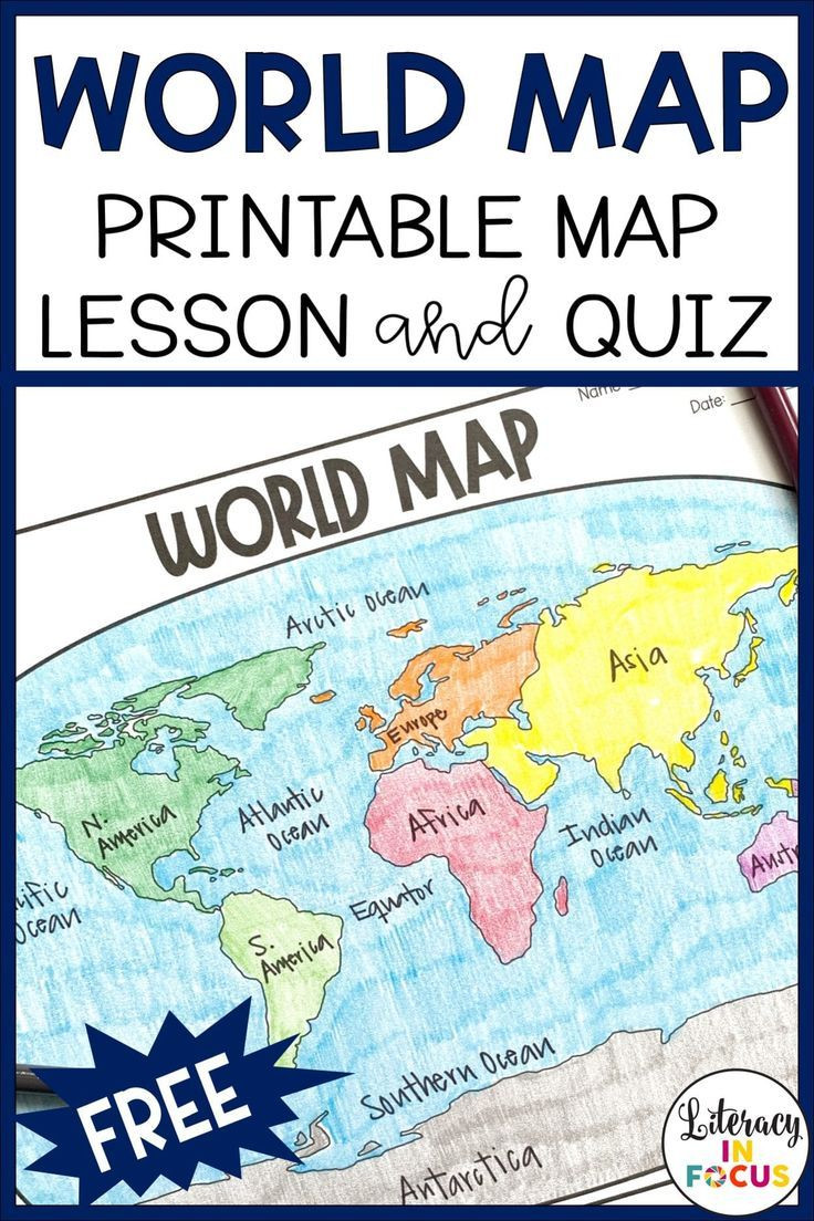 Label Continents and Oceans Printable Printable World Map Worksheet and Quiz In 2020