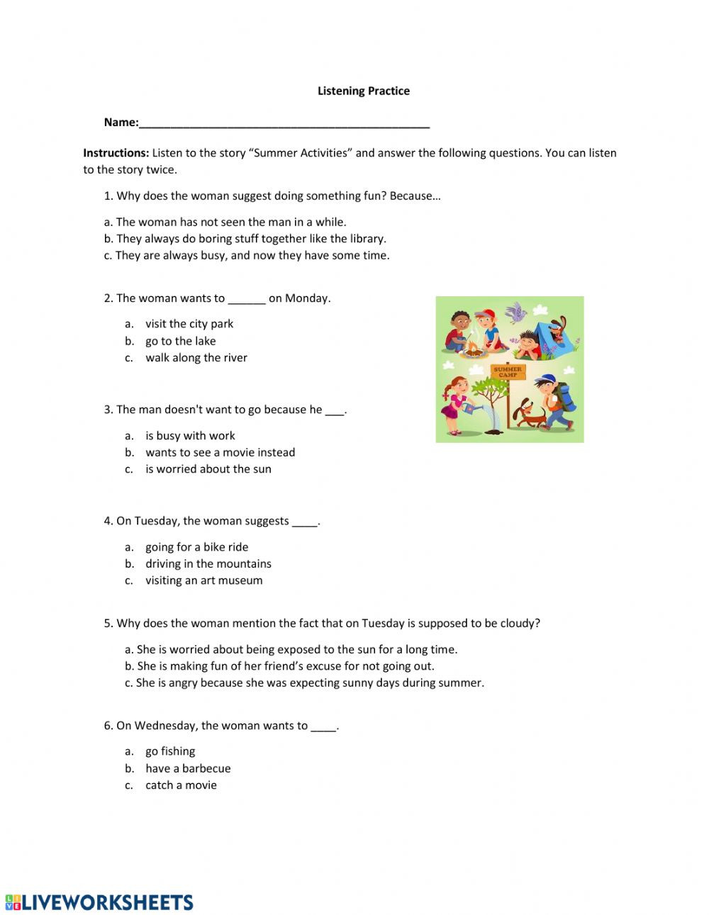 Language Arts Worksheets 8th Grade Practice Listening 2 May 8th Interactive Worksheet