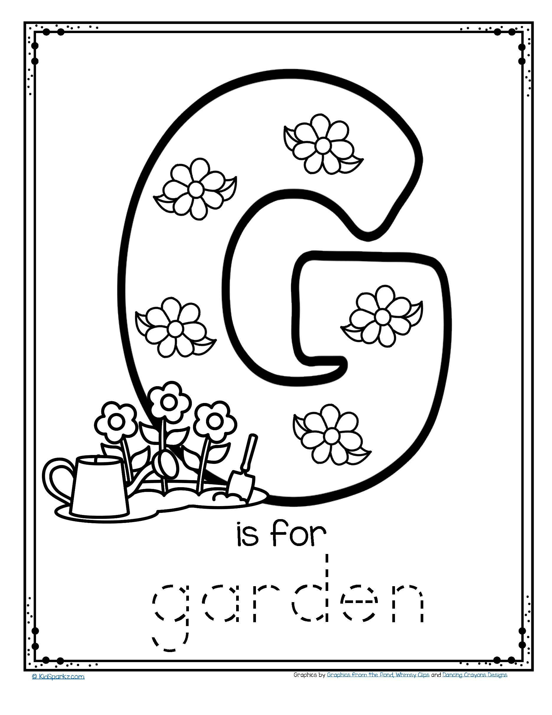 Letter G Worksheet Preschool Free G is for Garden Trace and Color Fine Motor Printable
