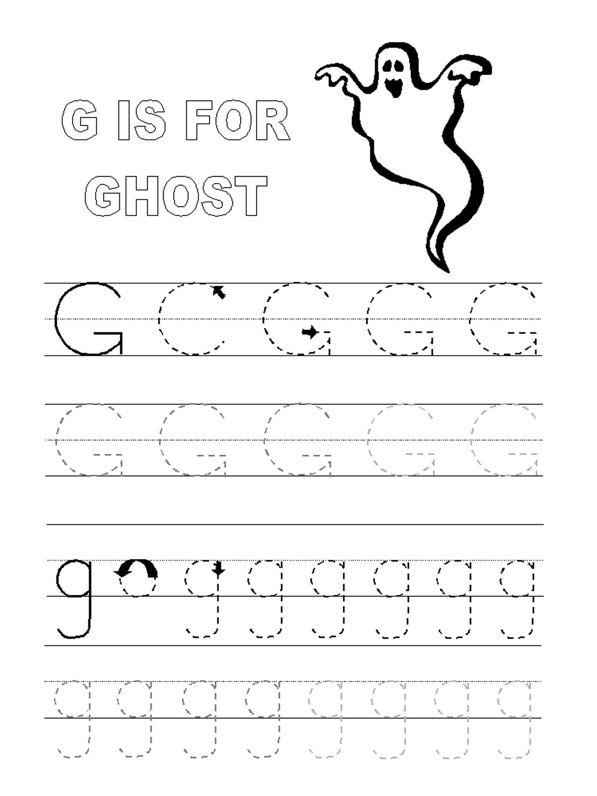 Letter G Worksheet Preschool Trace Letter G Worksheets