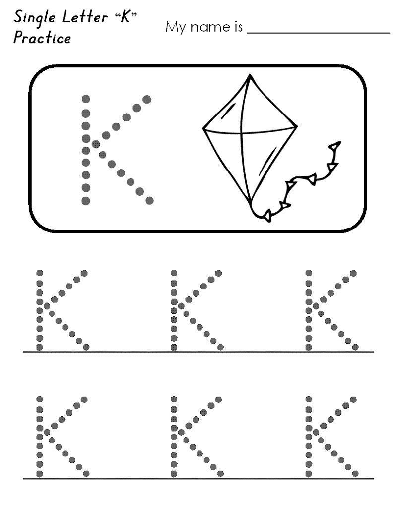 Letter K Tracing Worksheets Preschool Alphabet for Preschool Activity In 2020