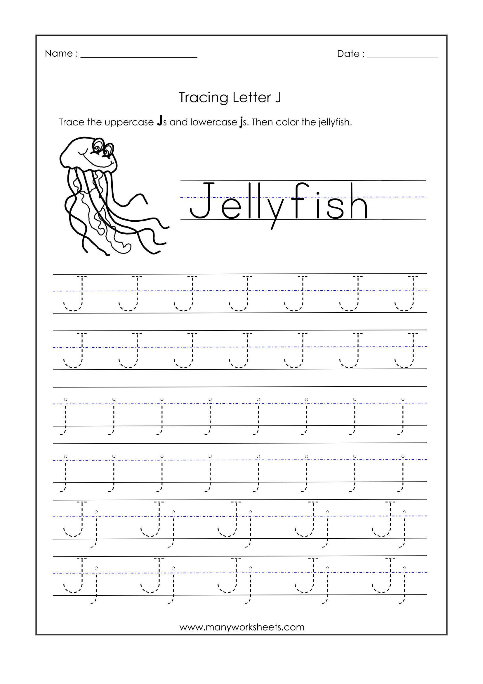 Letter K Tracing Worksheets Preschool Letter J Worksheets for Kindergarten – Trace Dotted Letters