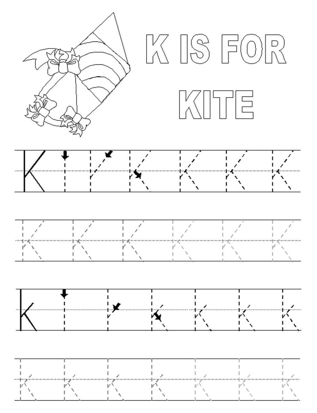 Letter K Tracing Worksheets Preschool Worksheet Kindergarten Worksheetsree Grammaror Grade Math