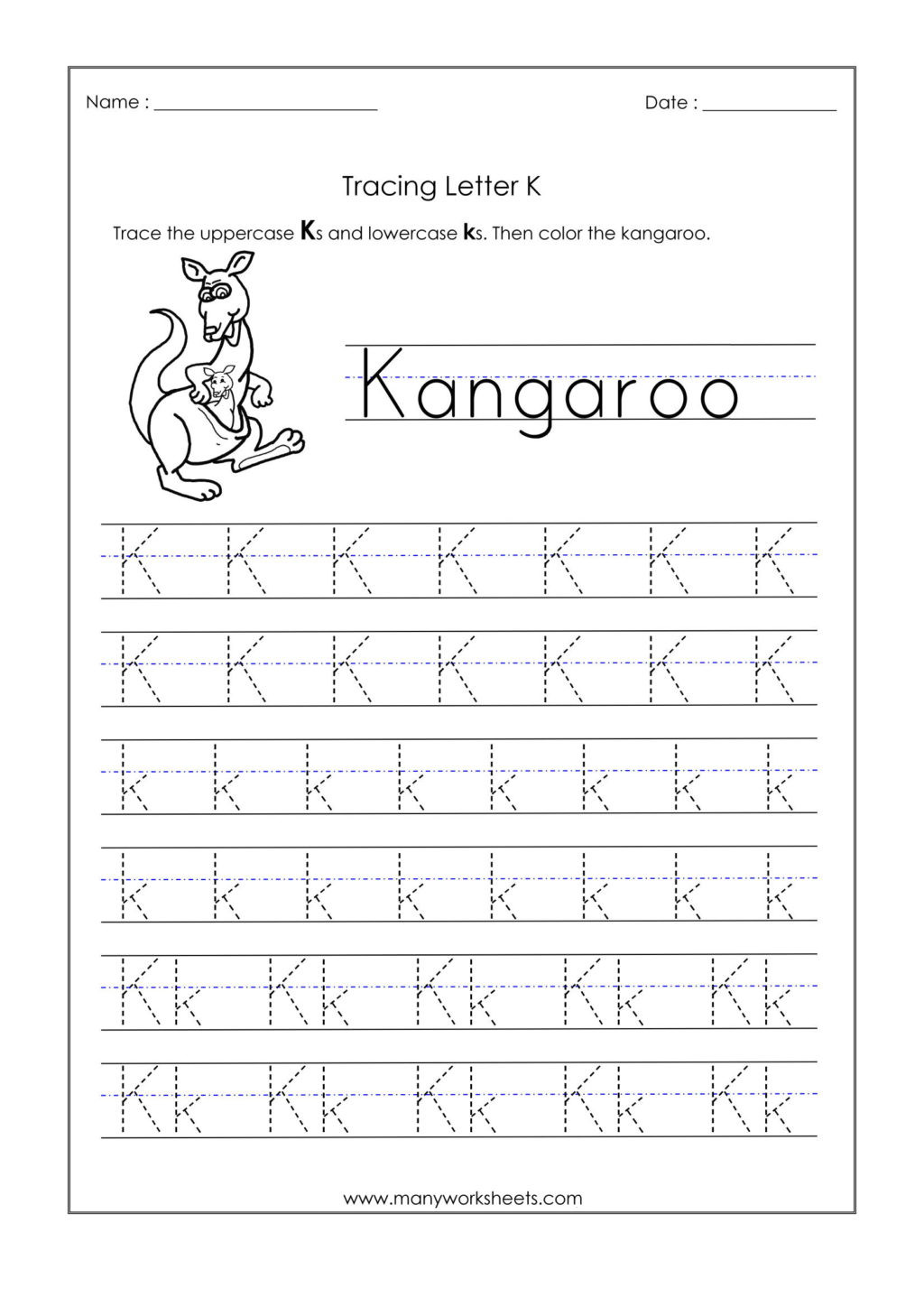 Letter K Tracing Worksheets Preschool Worksheet Worksheet Letter K Tracing Worksheets for