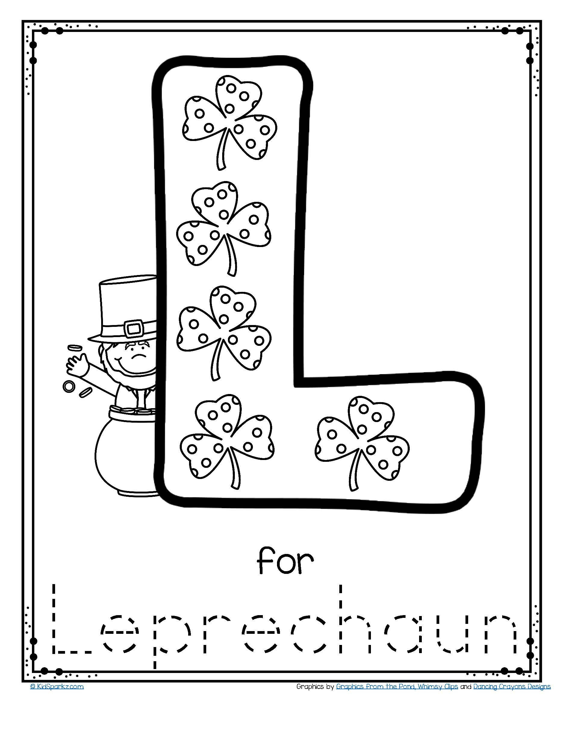 Letter L Worksheet for Preschool Free L for Leprechaun Alphabet Trace and Color Printable to