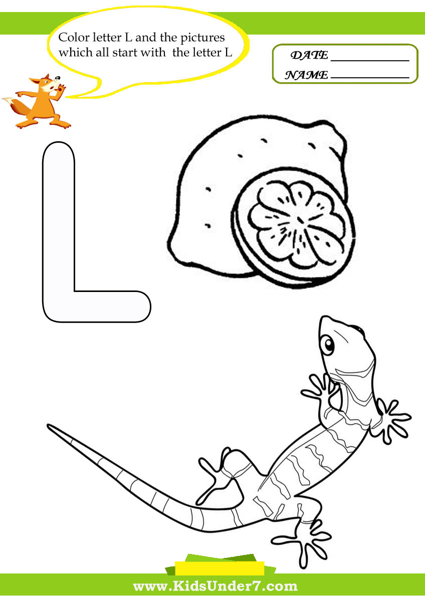 Letter L Worksheet for Preschool Kids Under 7 Letter L Worksheets and Coloring Pages