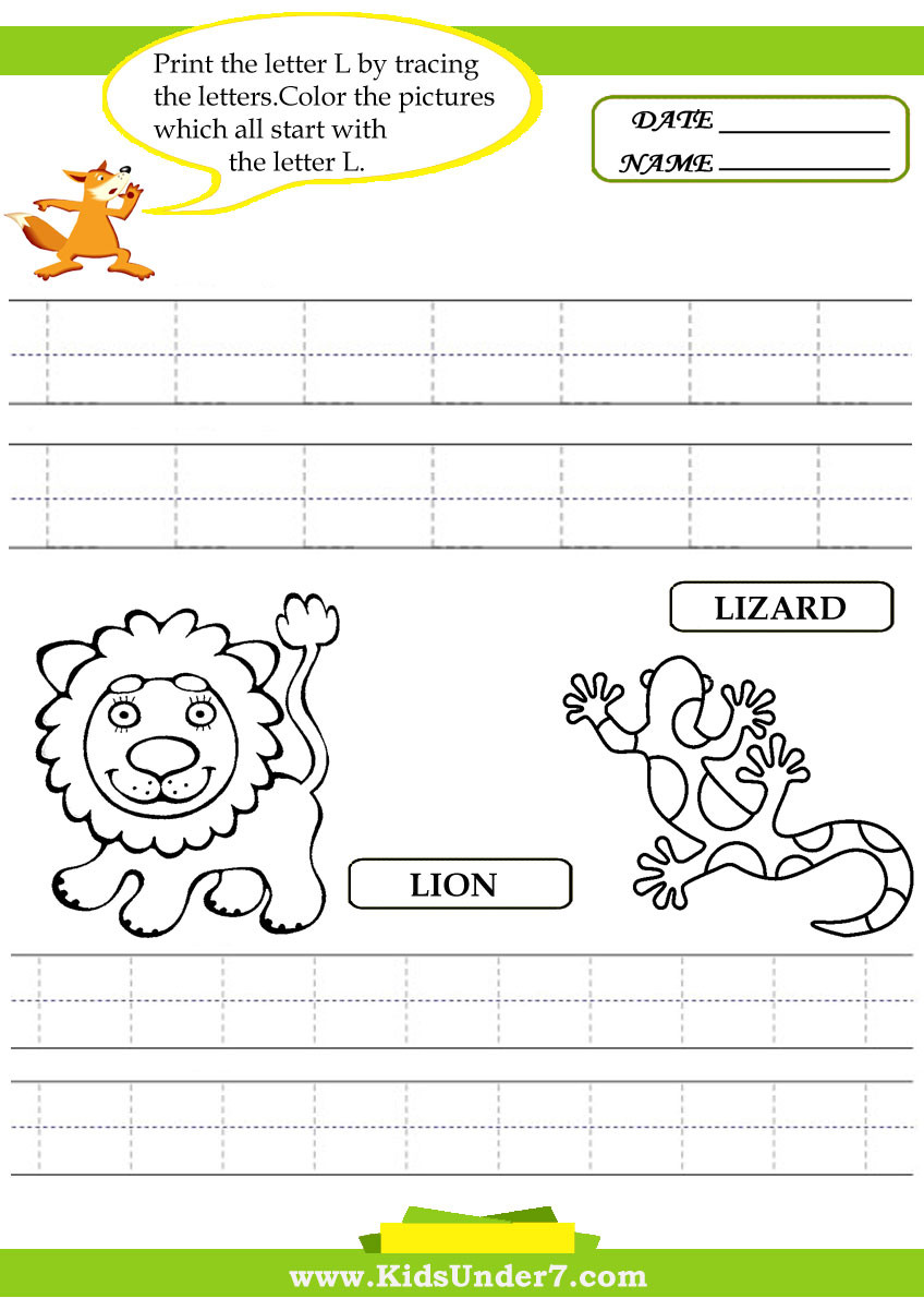 Letter L Worksheet Preschool Alphabet Worksheets Trace and Print Letter L Kids Under 7