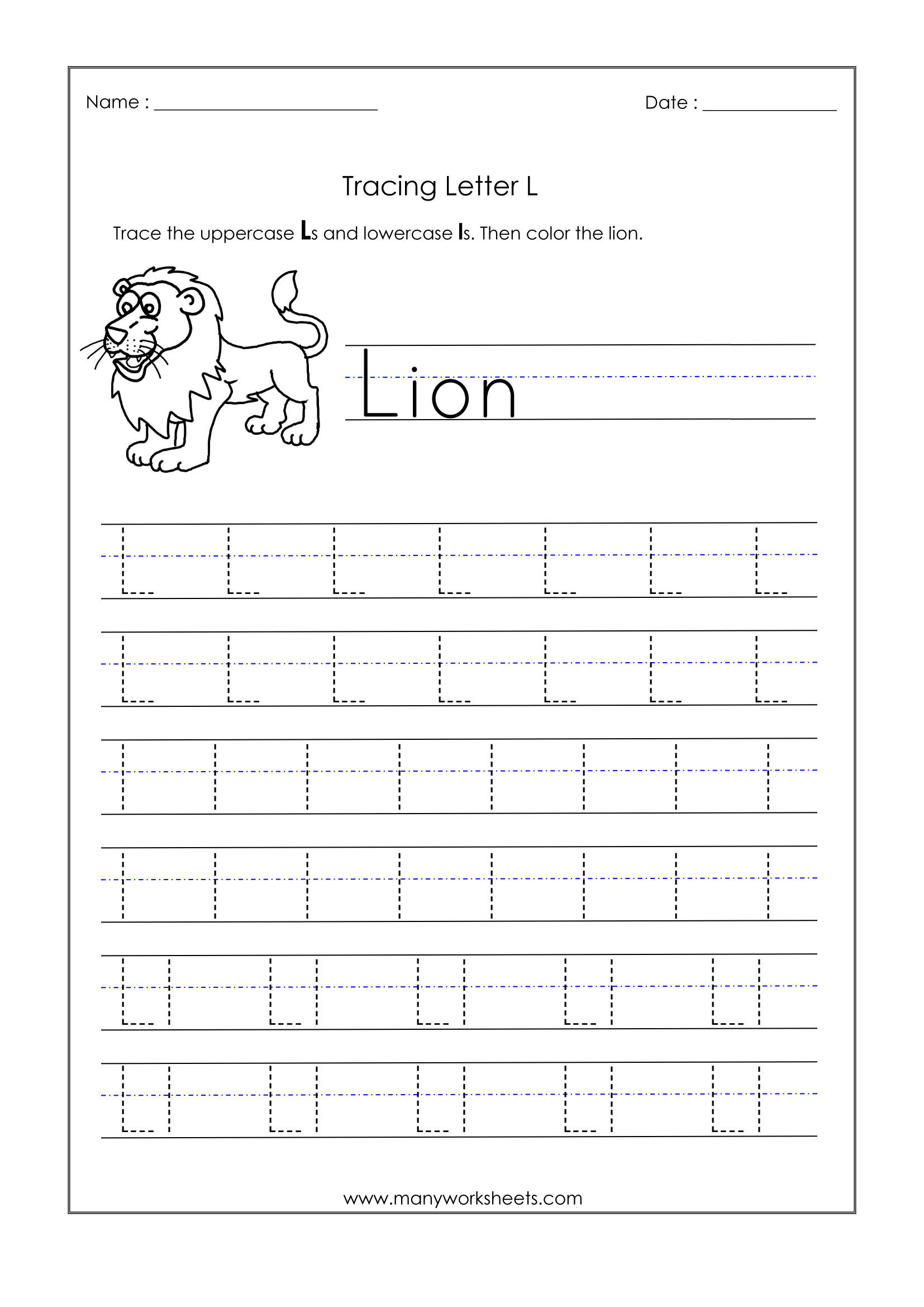 Letter L Worksheet Preschool Letter L Worksheets for Kindergarten – Trace Dotted Letters