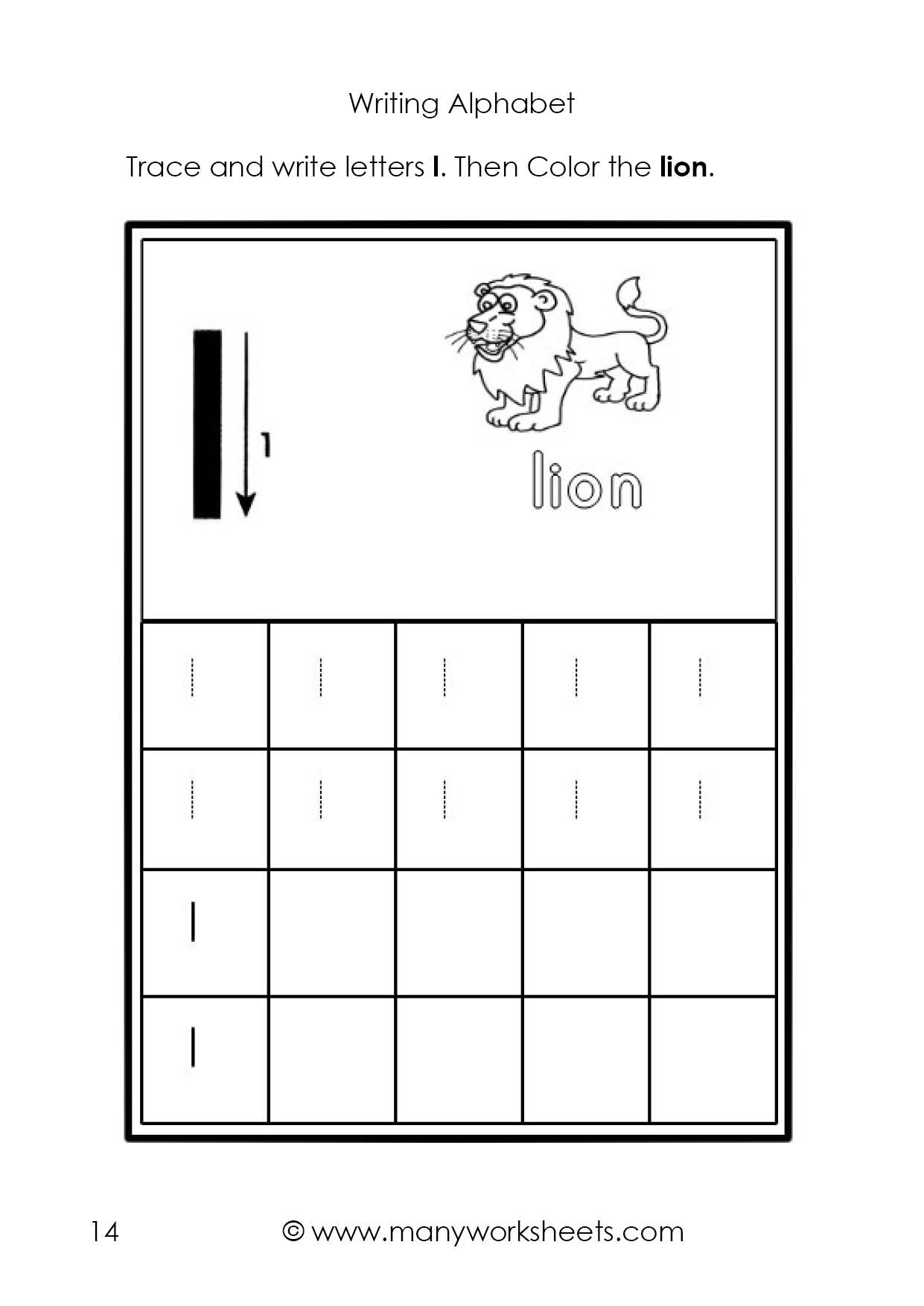 Letter L Worksheet Preschool Tracing and Writing the Letters L