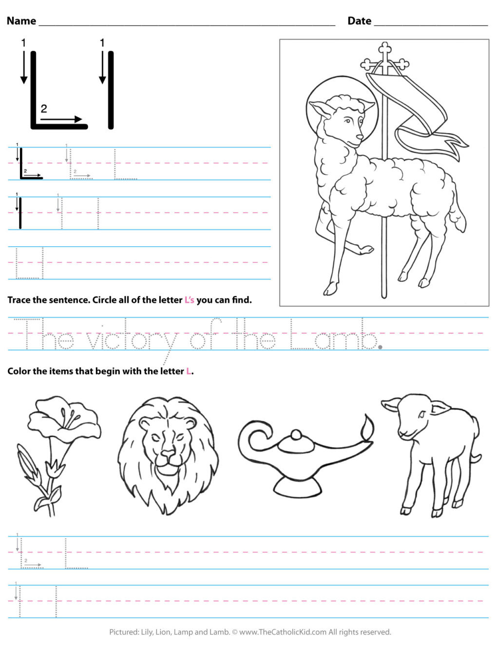 Letter L Worksheet Preschool Worksheet Catholic Alphabet Letter Lksheet Preschool