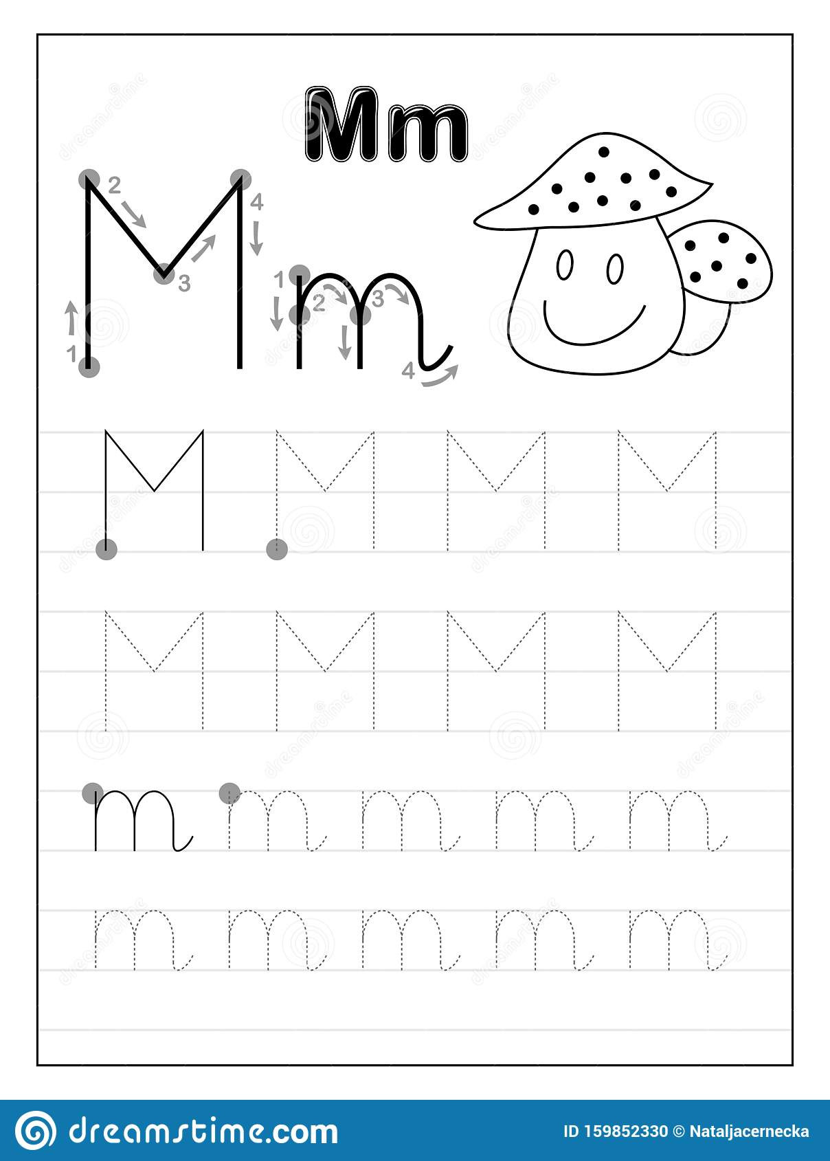 Letter M Worksheets for Preschoolers Tracing Alphabet Letter M Black and White Educational Pages