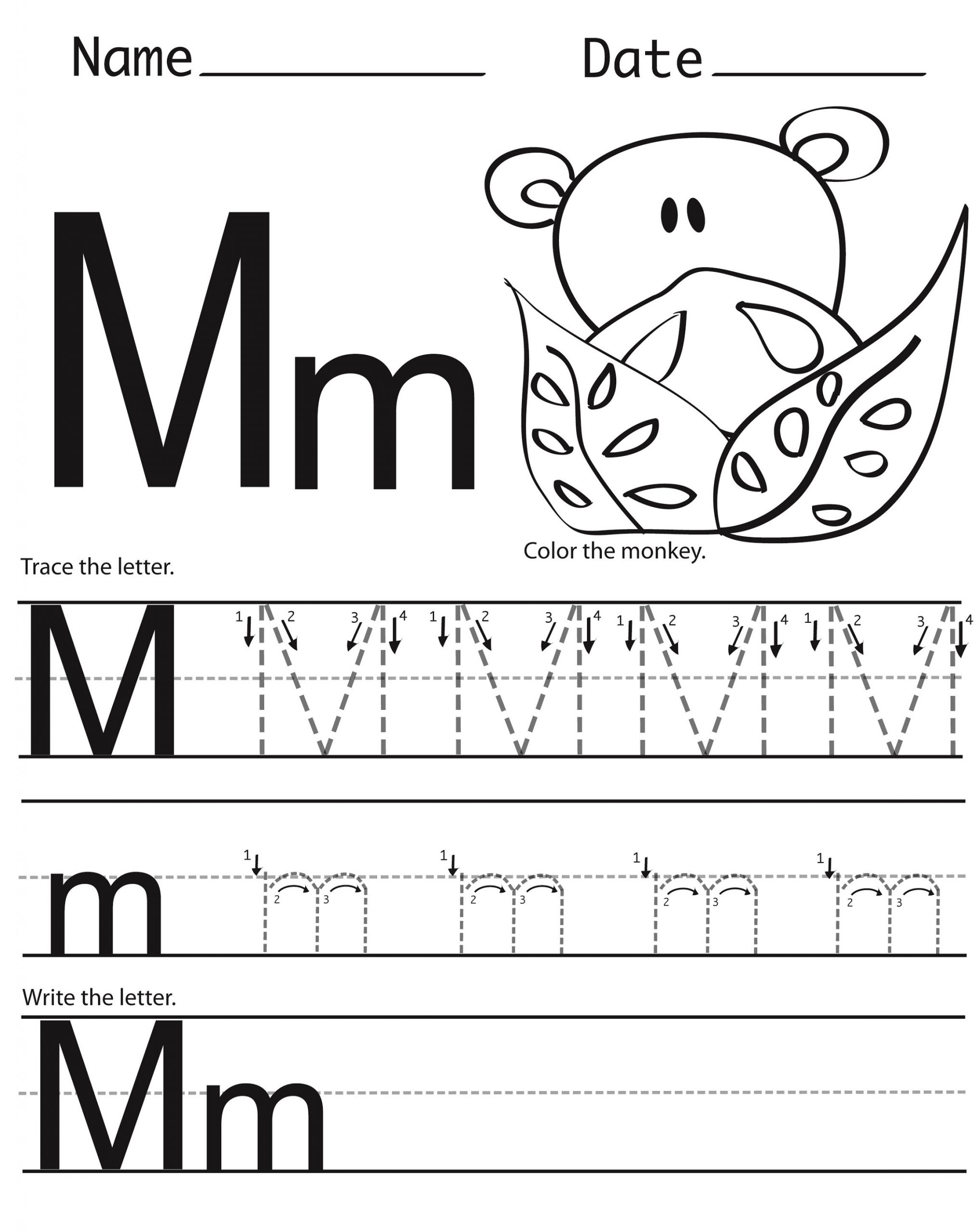 Letter M Worksheets Preschool Letter M Worksheets Twisty Noodle