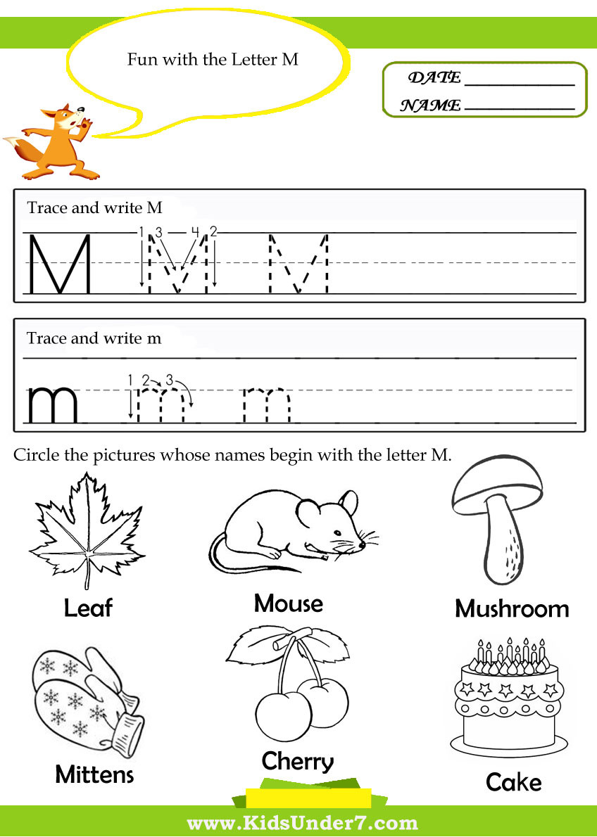 Letter M Worksheets Preschool the Alphabet the Letter M Kindergarten Resources Letter M
