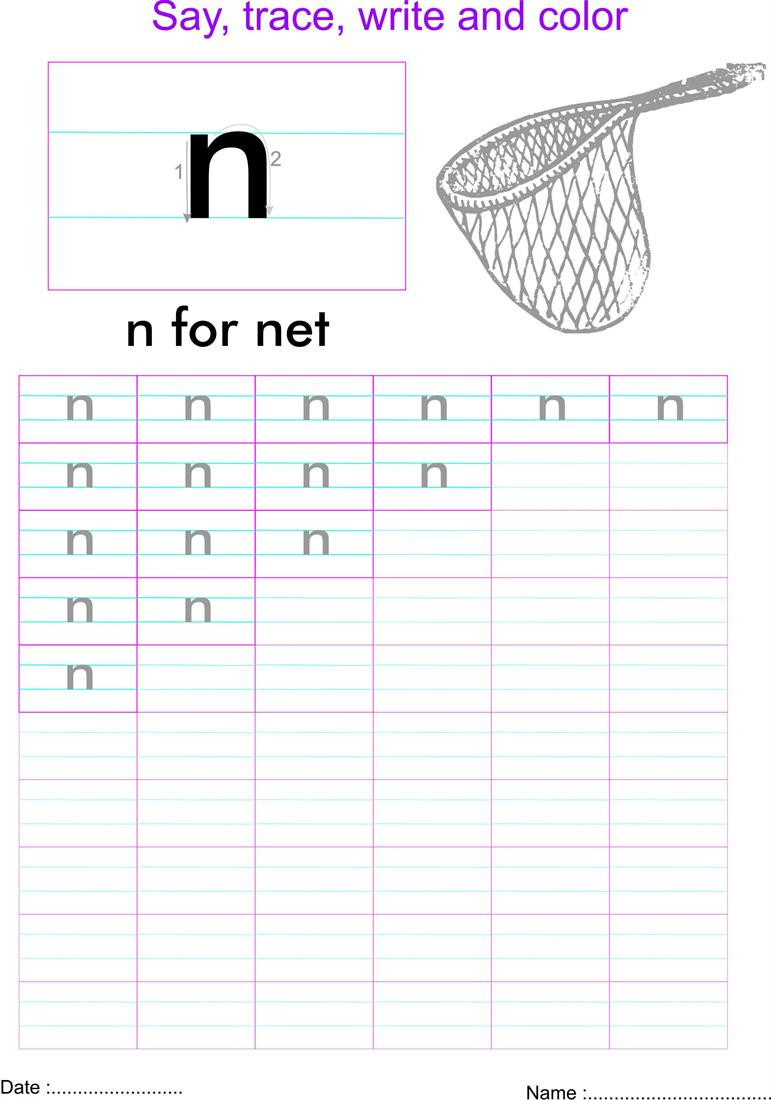 Letter N Tracing Worksheets Preschool English Small Letter N Worksheet
