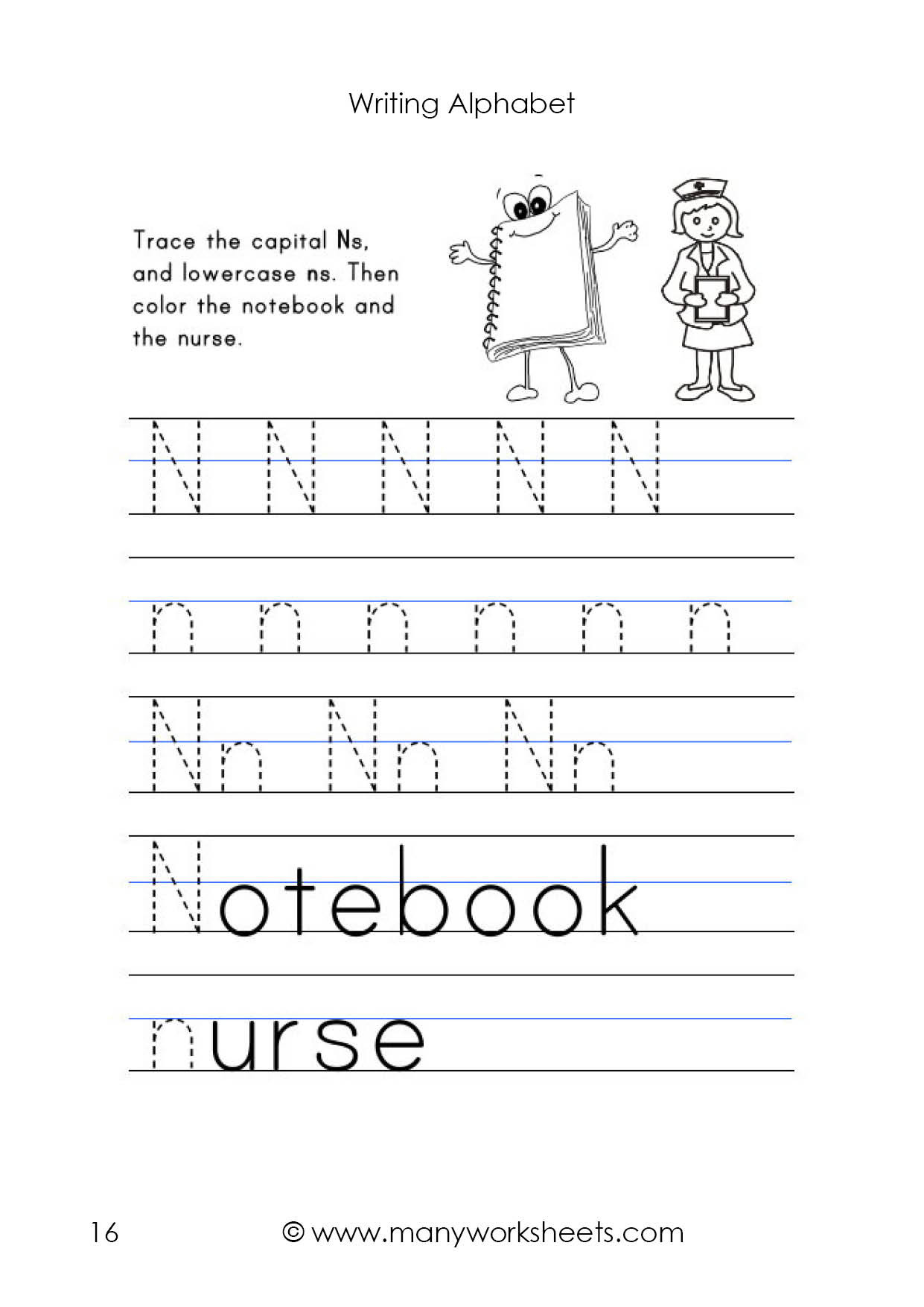Letter N Tracing Worksheets Preschool Letter N Worksheet – Tracing and Handwriting