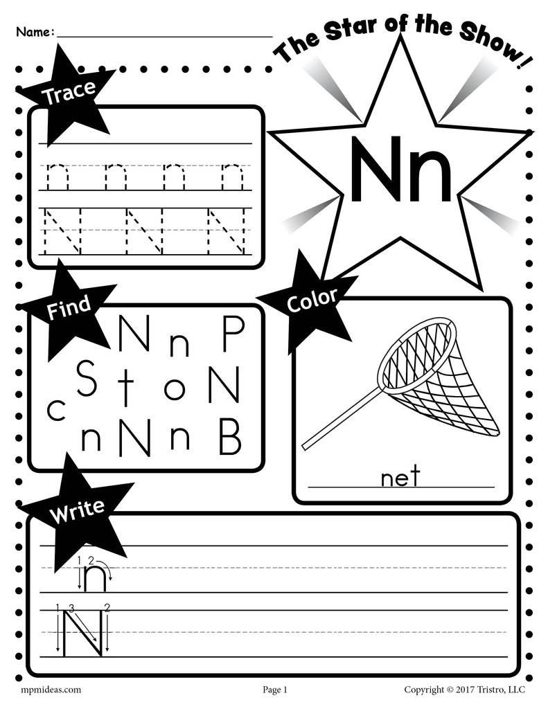 Letter N Tracing Worksheets Preschool Letter N Worksheet Tracing Coloring Writing & More