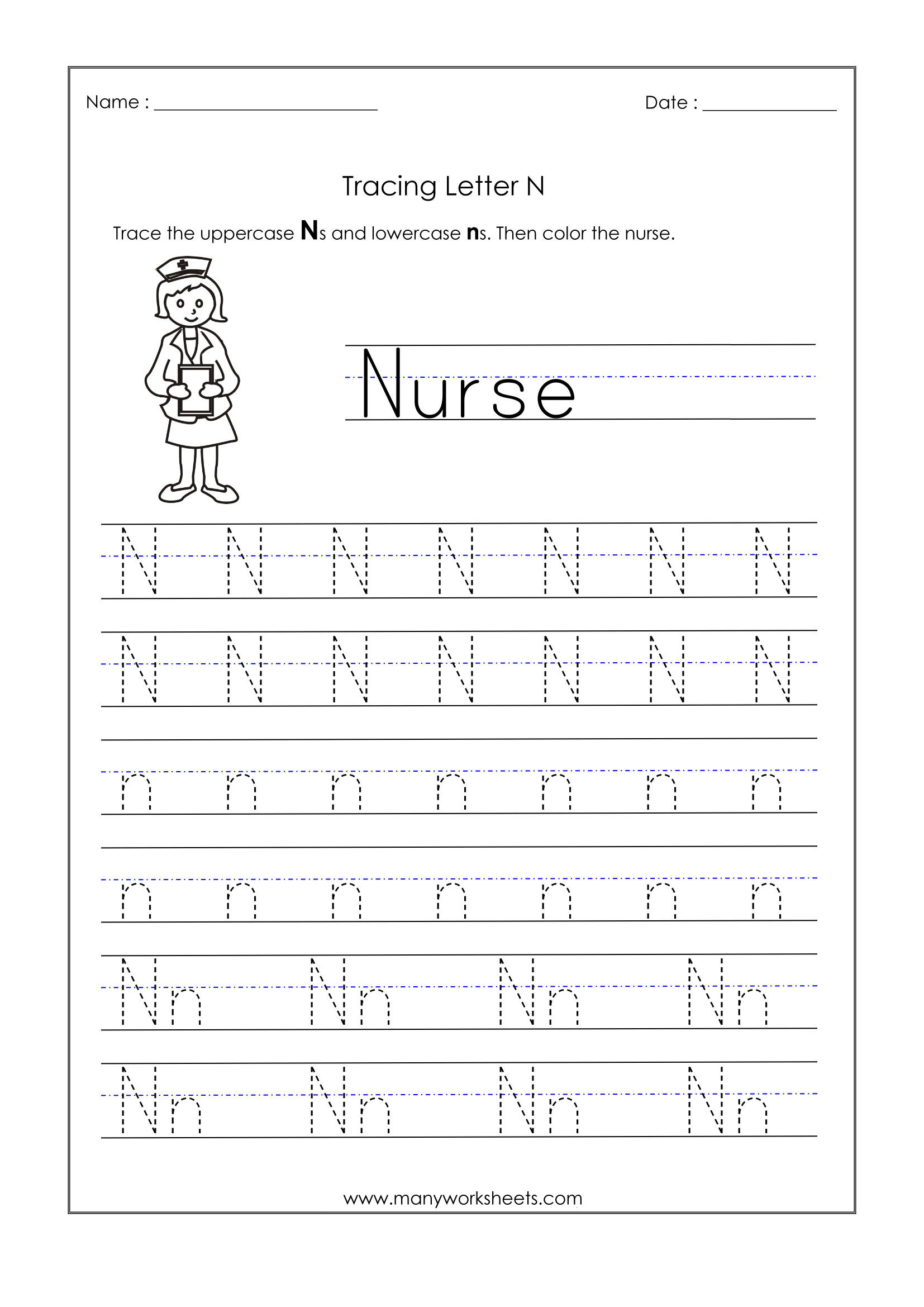 Letter N Tracing Worksheets Preschool Math Worksheet Preschool Tracing Letters 71ottenr25l Math