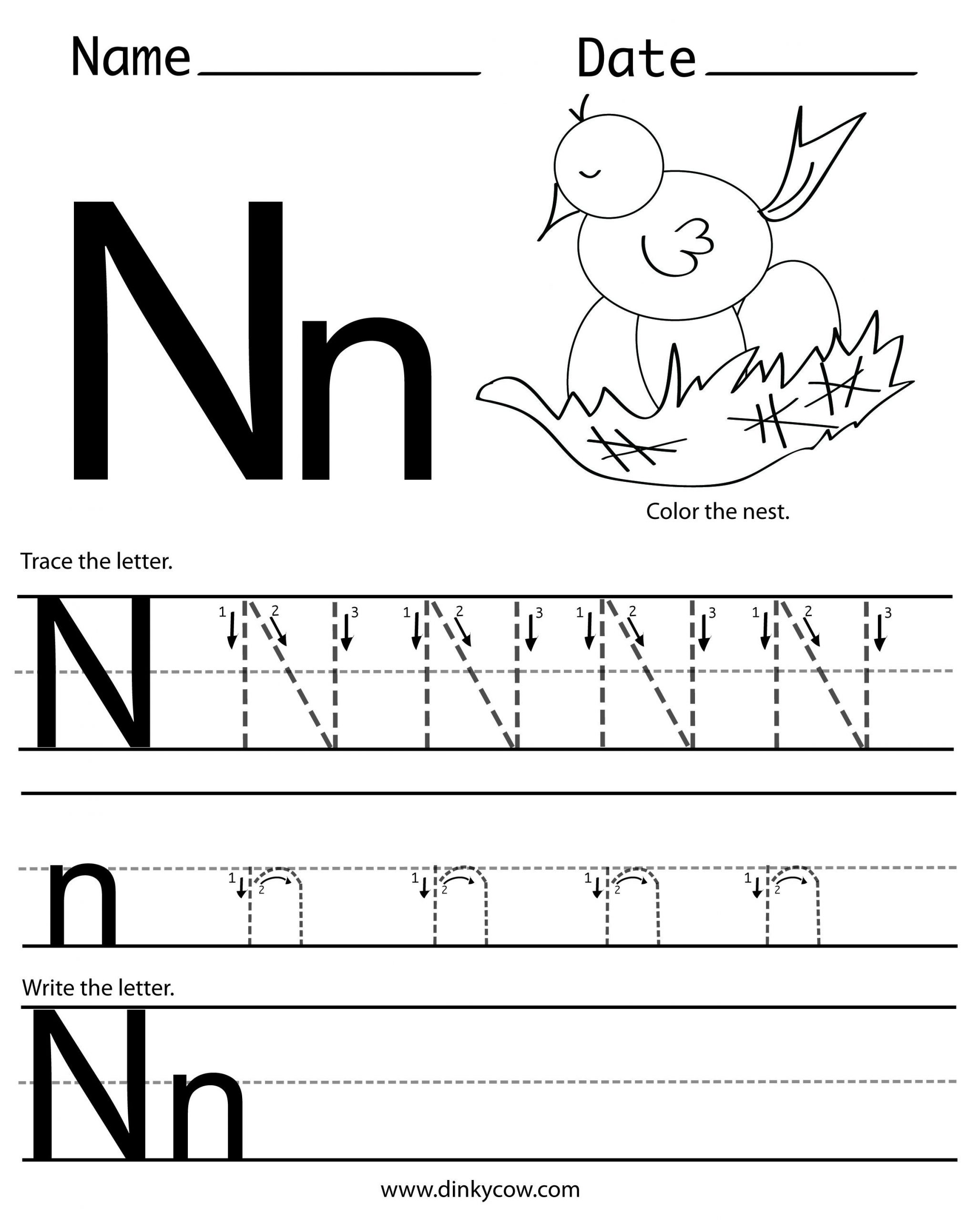 Letter N Tracing Worksheets Preschool N Free Handwriting Worksheet Print 2 400—2 988 Pixels