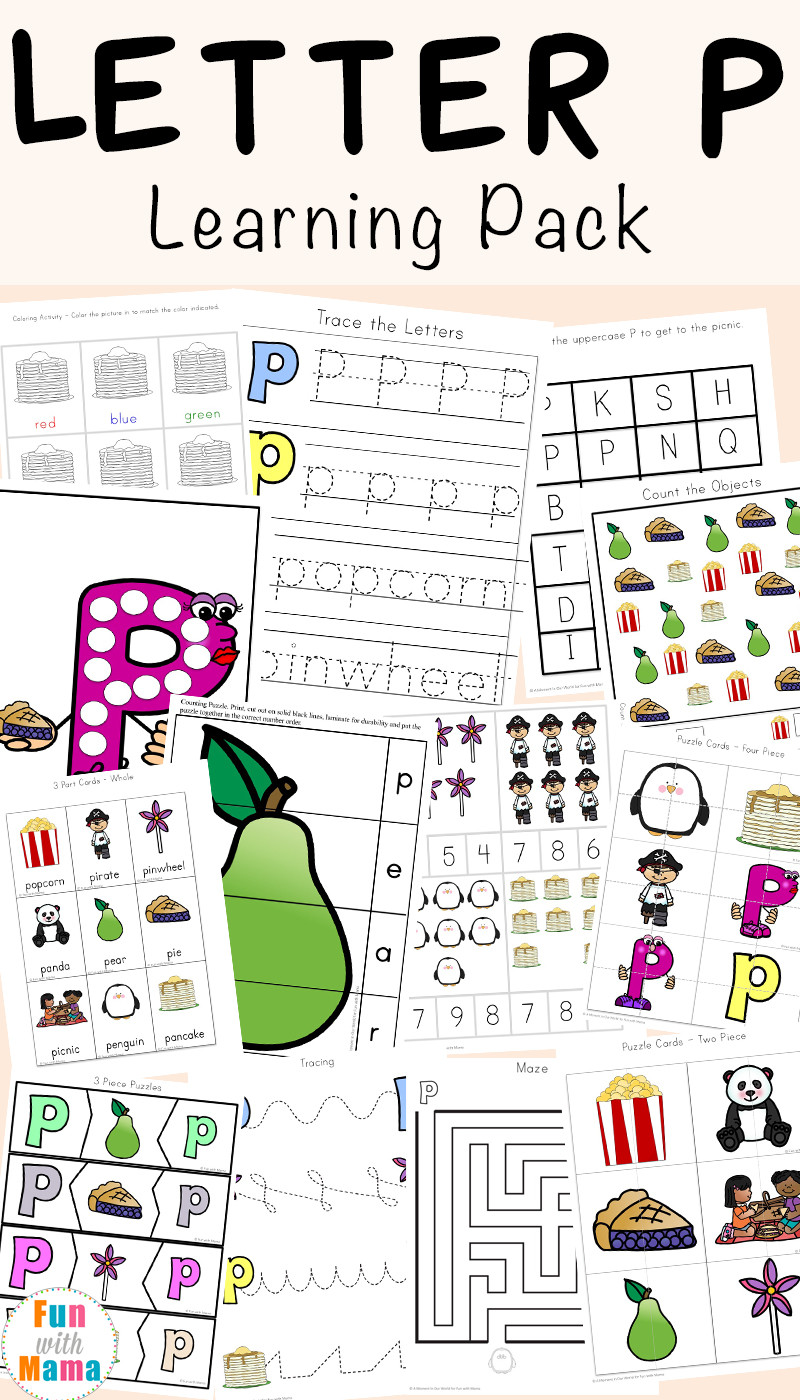 Letter P Preschool Worksheets Letter P Worksheets Printables Fun with Mama
