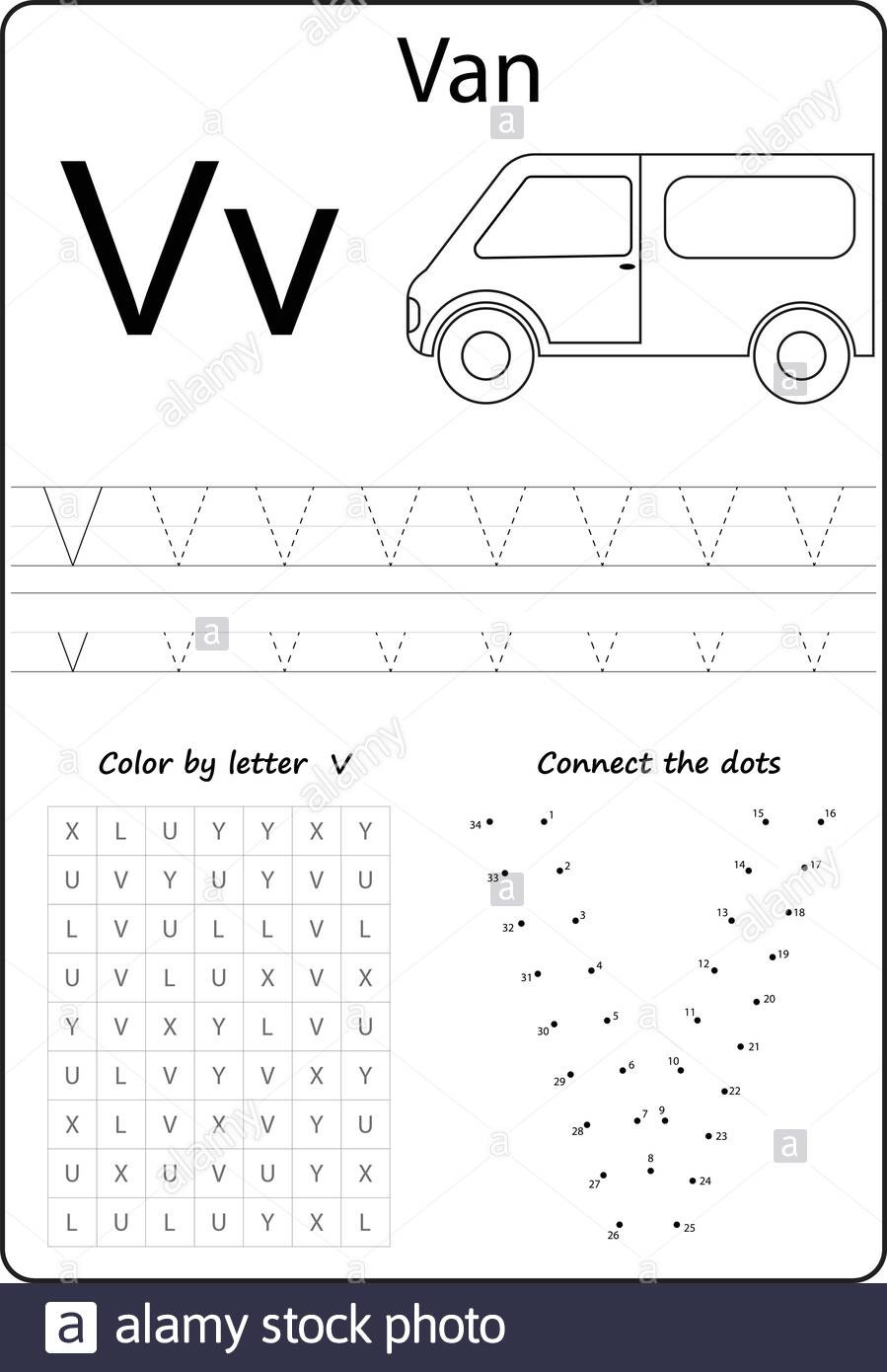 Letter V Worksheets Preschool Letter V Alphabet Letter Worksheet Task for Kids